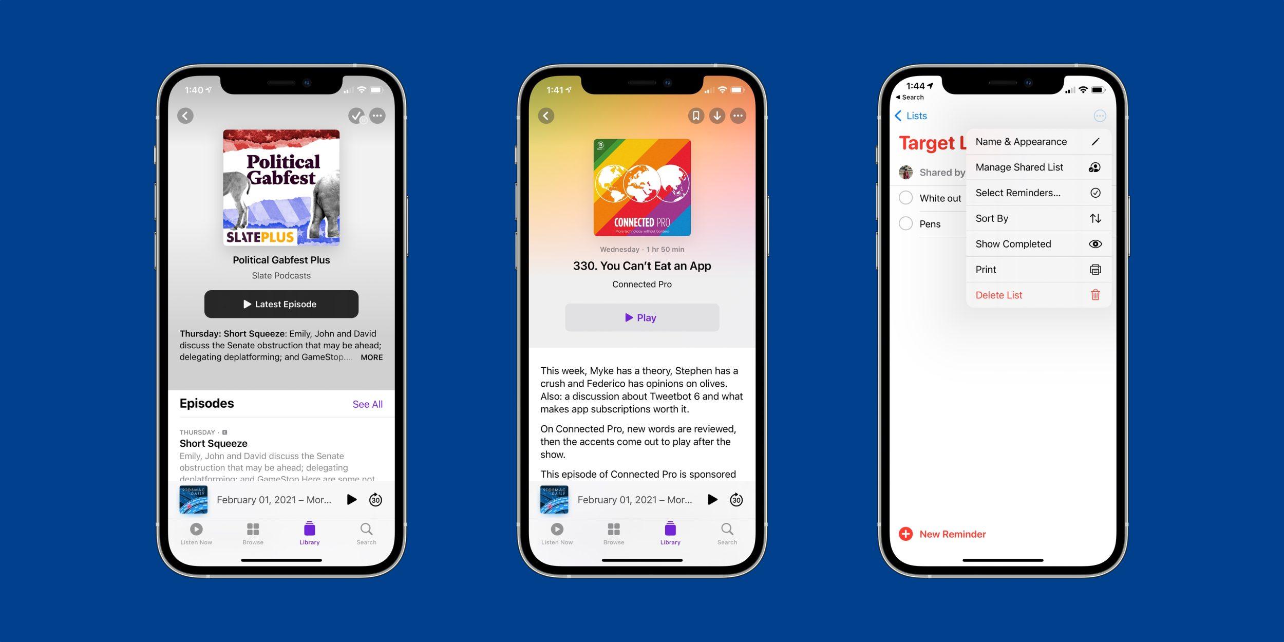 iOS 14.5:ssä uudistunut Podcastit-sovellus. Kuva: 9to5Mac.