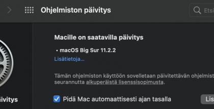 macOS Big Sur 11.2.2 sisältää tärkeän korjauksen.
