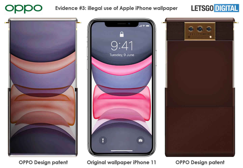 Oppo on kopioinut mallisuojahakemukseensa myös Applen iPhone 11 -taustakuvan.