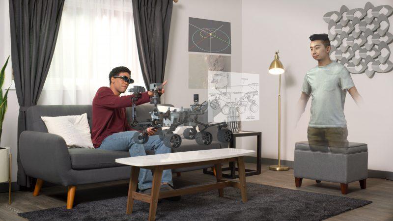 Simuloitu kuva AR-lasien käytöstä.