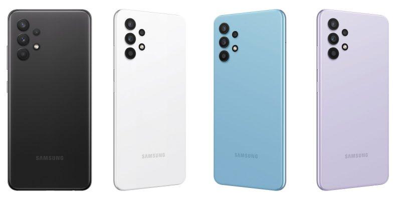 Samsung Galaxy A32:n värivaihtoehdot.