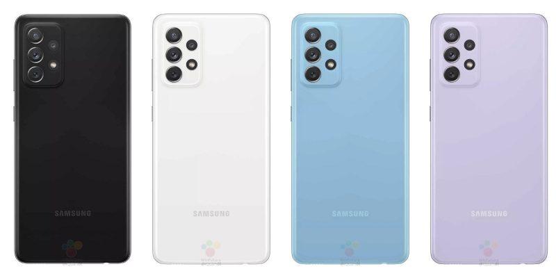 Samsung Galaxy A72:n värivaihtoehdot. Kuva: WinFuture.de.