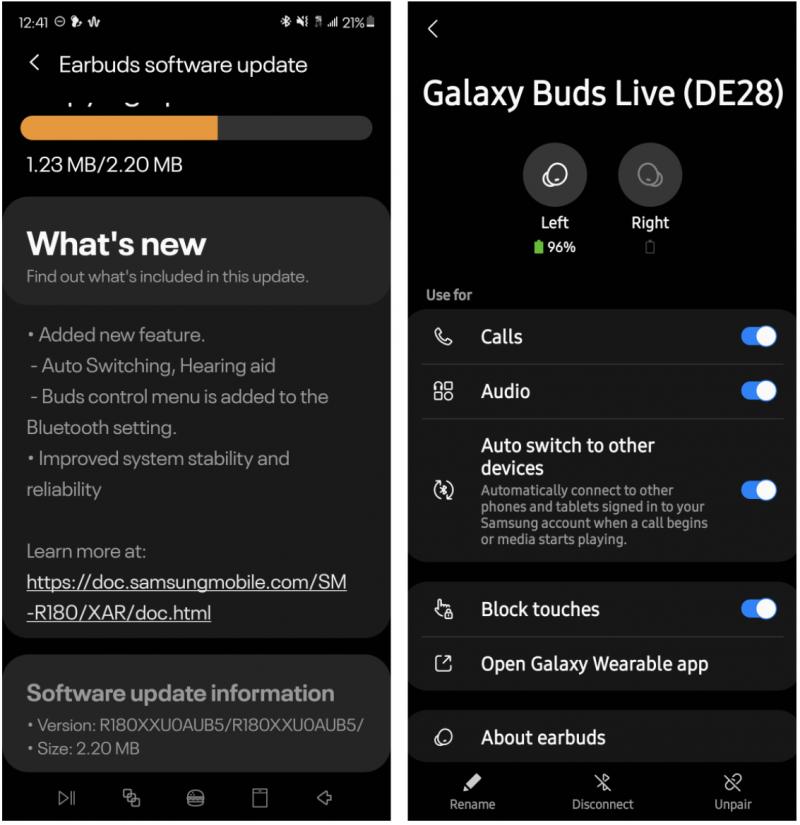 Galaxy Buds Live -kuulokkeet päivittyvät.