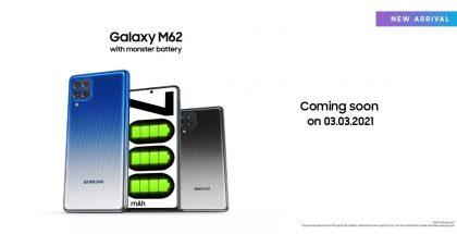 Samsung Galaxy M62 julkistetaan 3. maaliskuuta.