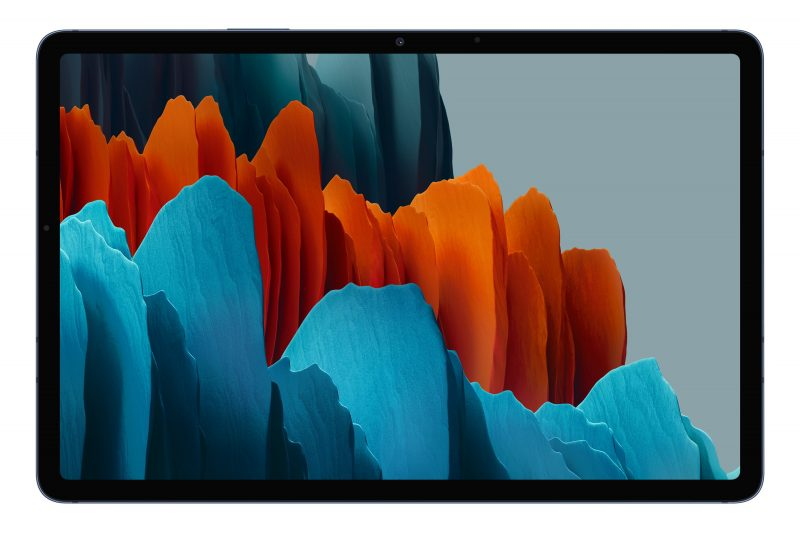 Etupuolella reunukset ovat toki mustat myös Phantom Navy -värivaihtoehdossa Galaxy Tab S7 -tableteista.