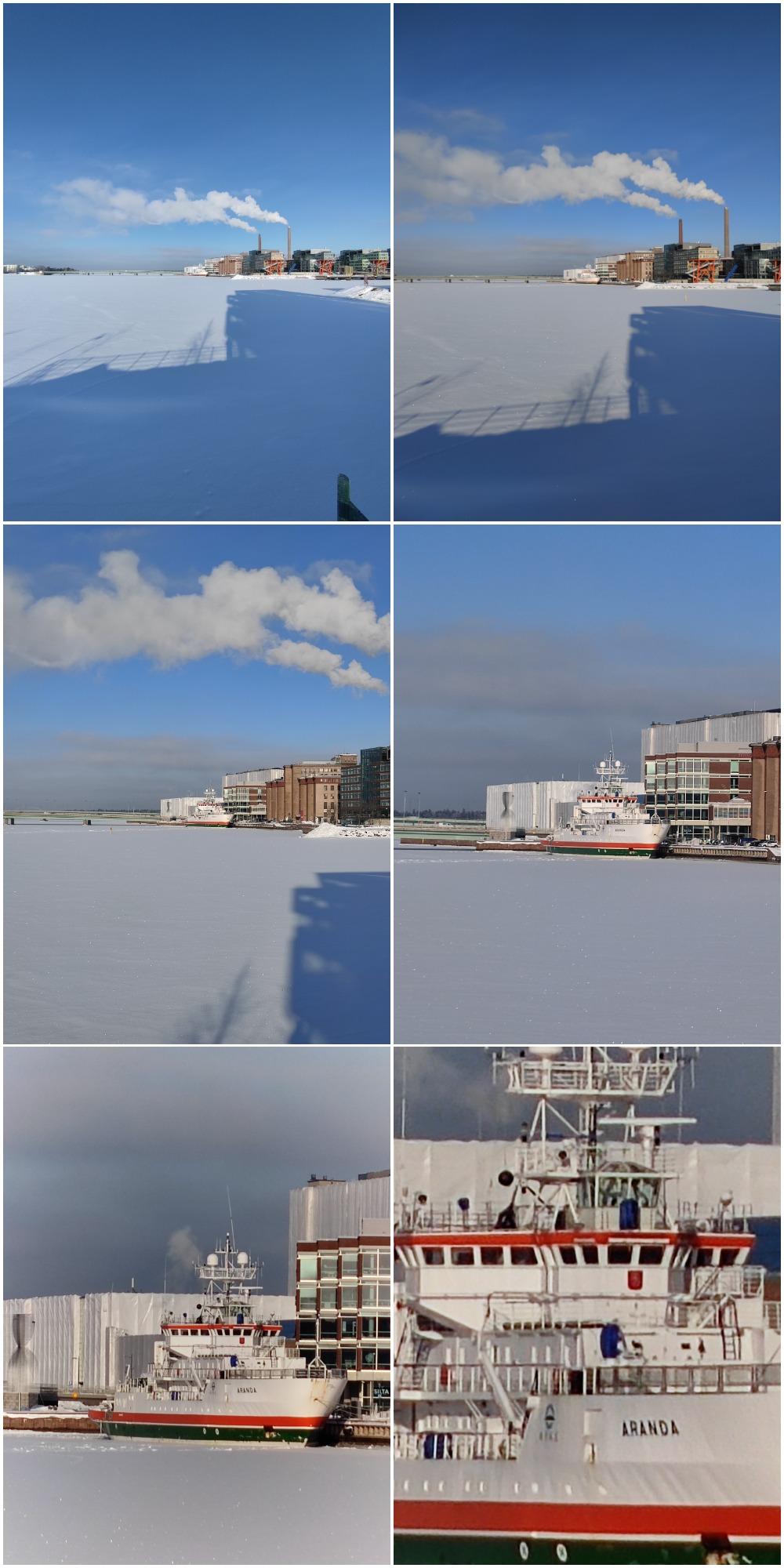 0,6x, 1x, 2x, 5x, 10x ja 30x. Kuvat samasta kohdasta Mi 11:n kameroilla.