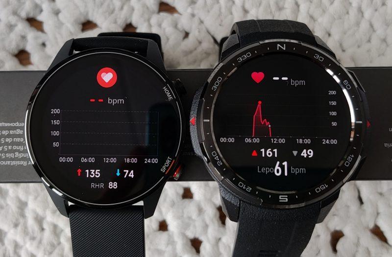 Xiaomi Mi Watchin ohjelmisto muistuttaa Huawein ja Honorin älykelloja. Kuvassa oikealla Honor Watch GS Pro.