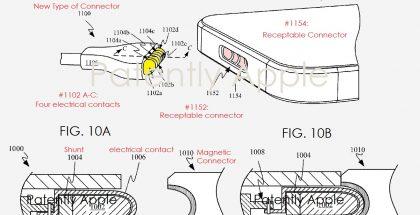 Applen patentoima uudenlainen magneettiliitäntä esimerkiksi iPhoneen. Kuva: Patently Apple.