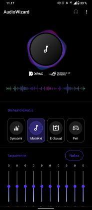 ROG Phone 5:n AudioWizardilla äänentoisto säätyy eri käyttötilanteisiin.
