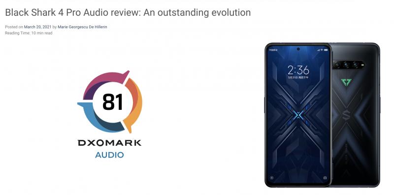 Black Shark 4 Pro jo DXOMark Audio -arvostelussa.