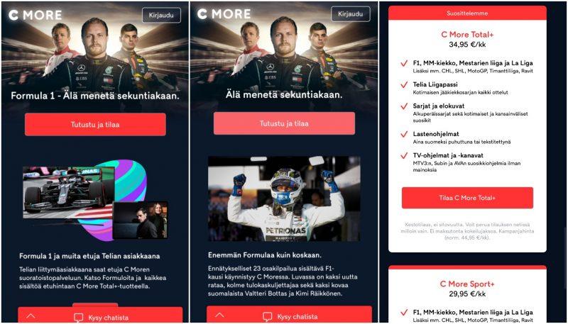 C Moren temppu F1-tilaajien ohjaamiseksi kalliimpiin paketteihin toimii samalla tavalla myös cmore.fin älypuhelimille sovitetulla sivustolla.