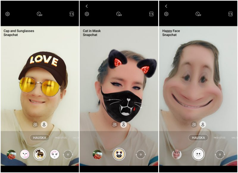 Snapchat-linssiefektejä on tarjolla suoraan Galaxy A52 5G:n Kamera-sovelluksessa.