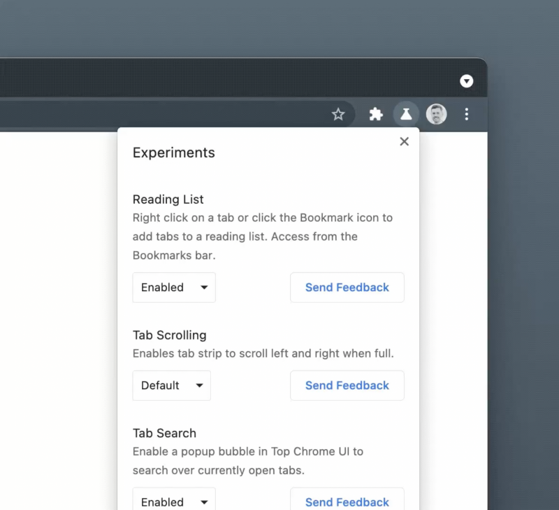 Google Chromen uusi Experiments-valikko.