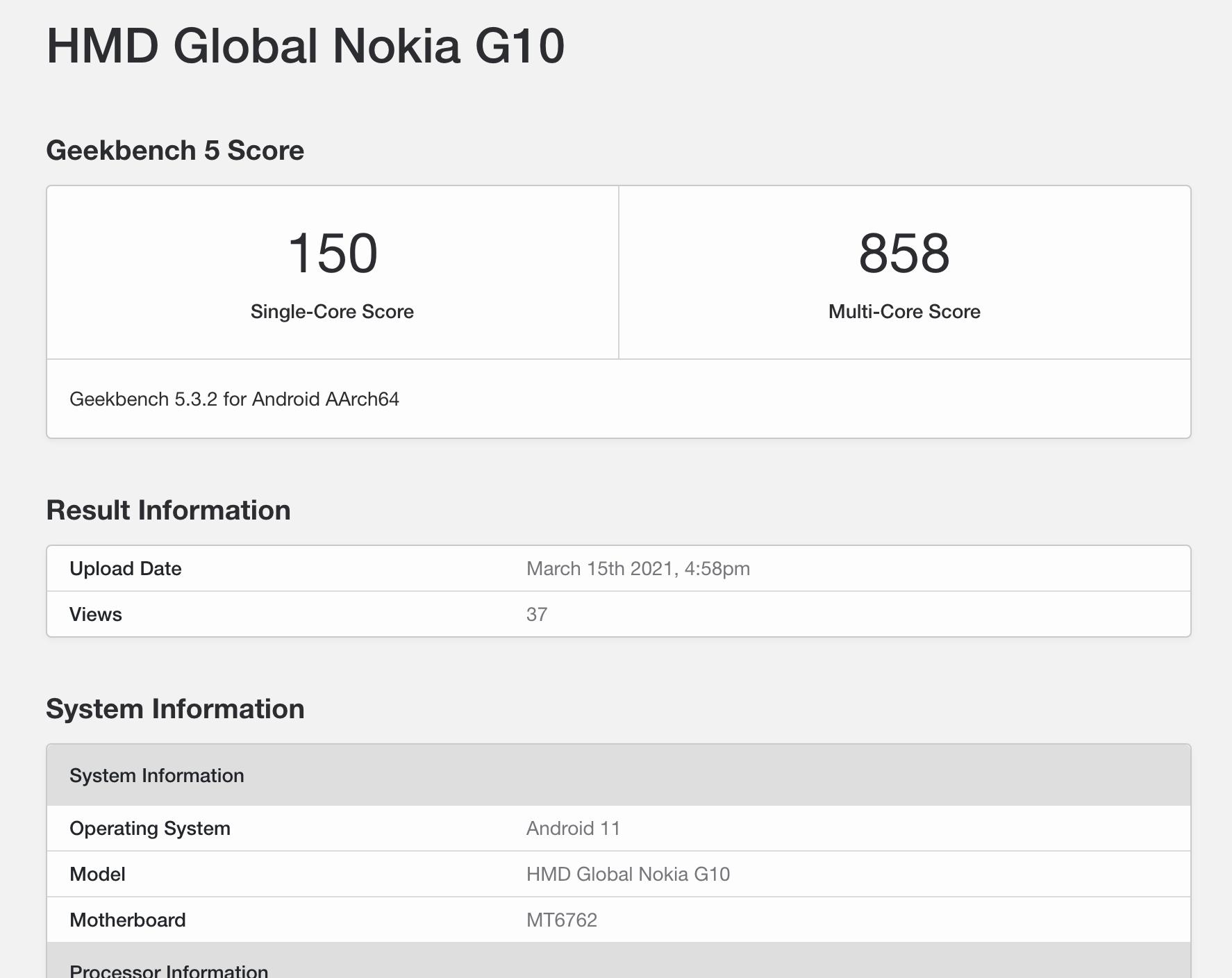 Nokia G10 ilmestyi GeekBench-suorituskykytestin tietokantaan.