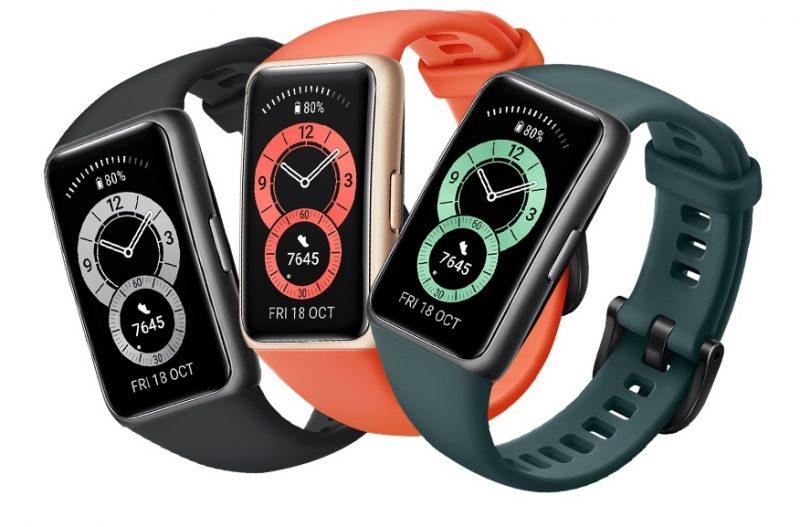 Huawei Band 6:n kolme värivaihtoehtoa.