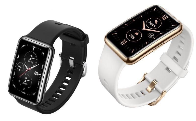 Huawei Watch Fit Elegant Editionin kaksi värivaihtoehtoa, Frosty White ja Midnight Black.