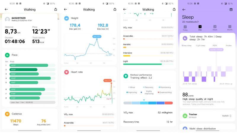 Harjoittelusta, unesta ja muista aktiviteeteista saa Xiaomi Wearista runsaasti tietoa.
