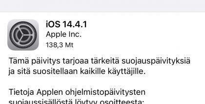 iOS 14.4.1 on ladattavissa.