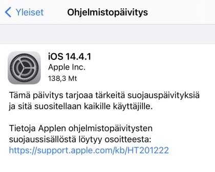 iOS 14.4.1 on ladattavissa.