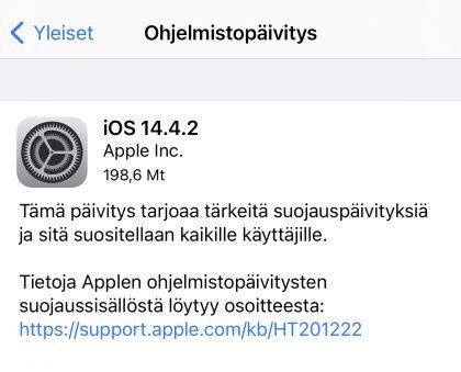 iOS 14.4.2 on ladattavissa iPhoneille.