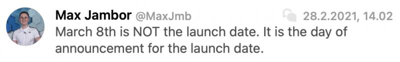 Max Jambor kertoi jo ennen OnePlussan ilmoitusta uutisista 8. maaliskuuta. Sittemmin twiitti on syystä tai toisesta poistettu.