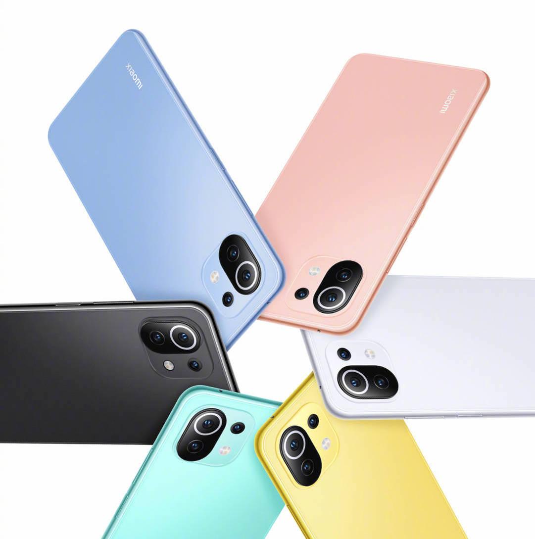 Mi 11 Lite -sarjan eri värivaihtoehdot.