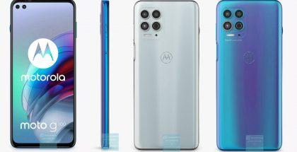 Motorola Moto G100 on tulossa kahtena värivaihtoehtona. Edessäkin on kaksi kameraa. Kuvat: TechnikNews.