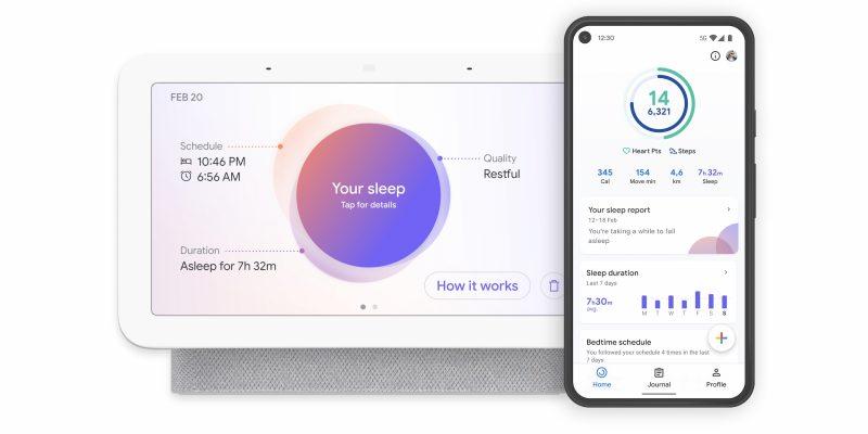 Nest Hubin yksityiskohtaisempia tietoja nukkumisesta. Tiedot synkronoituvat myös Google Fit -sovellukseen.