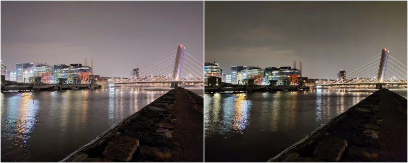 Yötila pääkameralla. Vasemmalla Galaxy A52 5G, oikealla OnePlus Nord.