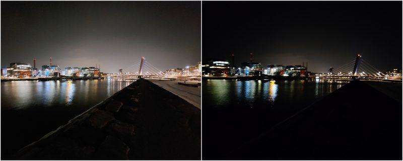 Yötila ultralaajakulmakameralla. Vasemmalla Galaxy A52 5G, oikealla OnePlus Nord.