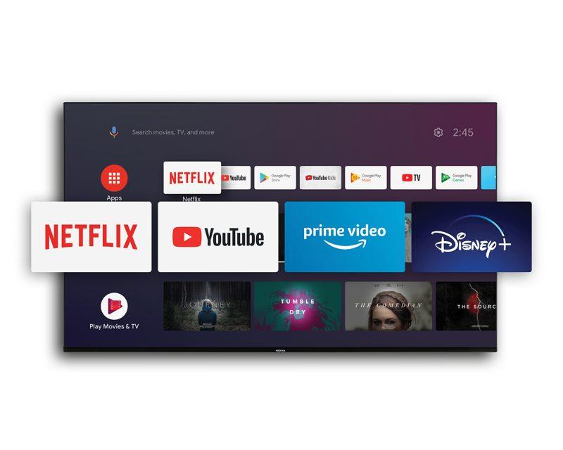 Nokia-älytelevisiot sisältävät Android TV -käyttöjärjestelmän, jonka sovellustarjonta on laaja.