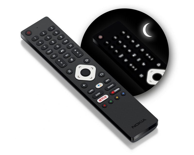 Nokia Smart TV -kaukosäädin sisältää myös painikkeiden taustavalaistuksen.