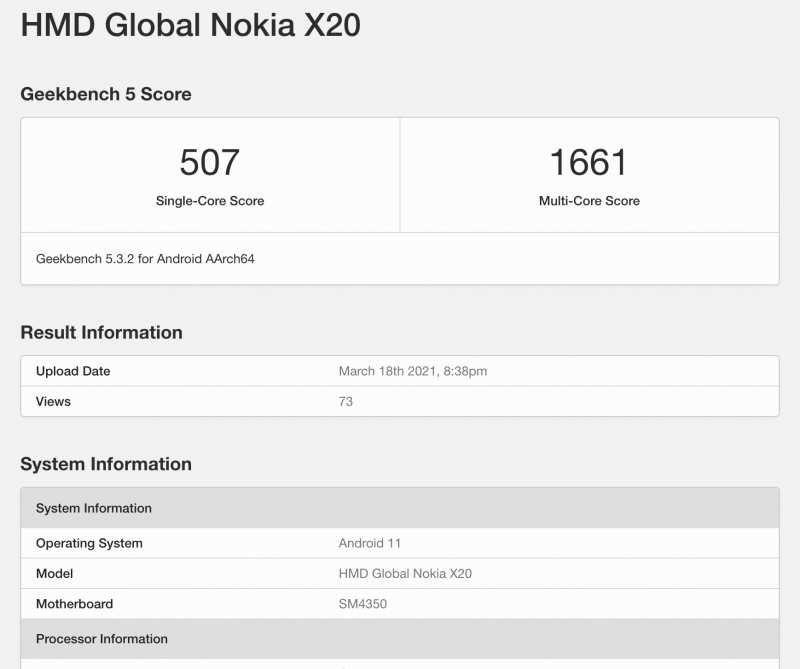 Nokia X20:n GeekBench-suorituskykytestin tiedot.