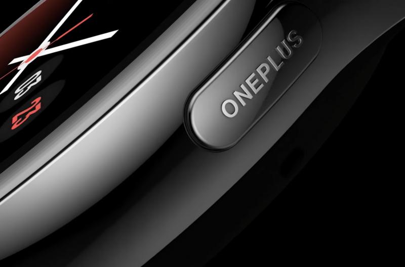 OnePlus Watchin painikkeesta löytyy OnePlus-tekstilogo.