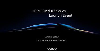 Oppo Find X3 -sarjan älypuhelimet julkistetaan 11. maaliskuuta.