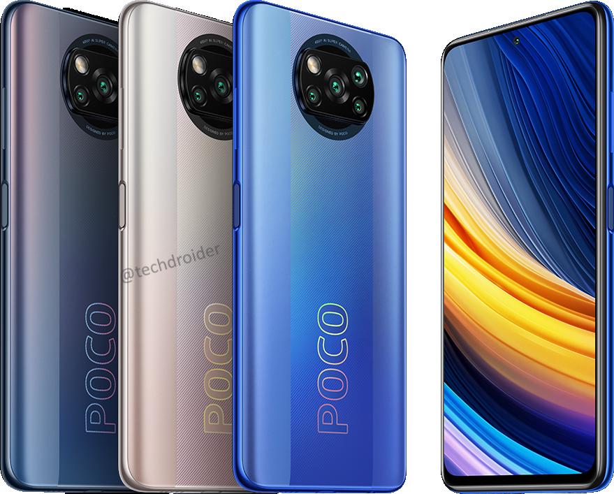 Poco X3 Pro kolmena eri värivaihtoehtona. Kuva: TechDroider.