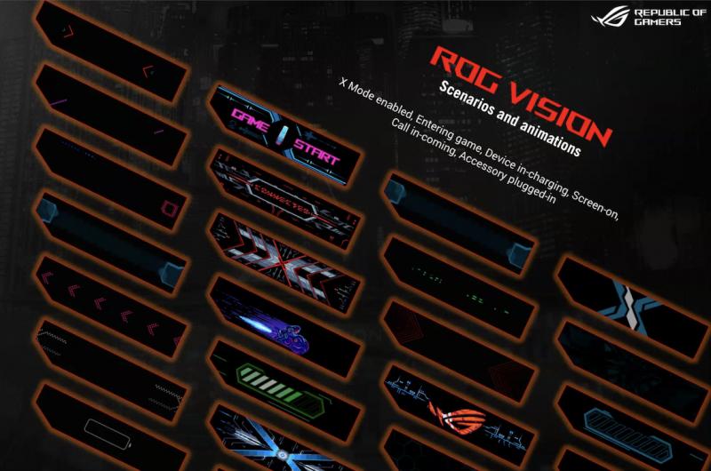 ROG Vision -pikkunäyttö ROG Phone 5 Prossa ja ROG Phone 5 Ultimatessa esittää erilaisia animaatioita.