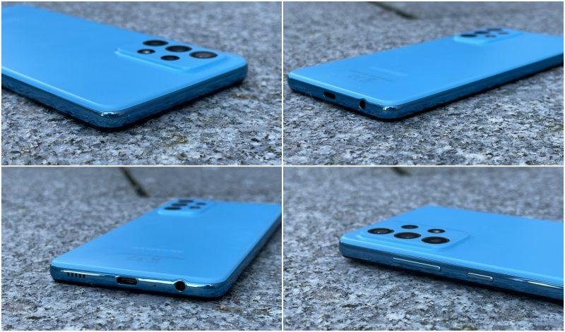 Galaxy A52 5G:n pohjasta löytyy USB-C-liitännän lisäksi myös 3,5 millimetrin kuulokeliitäntä.