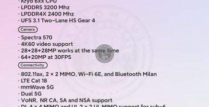 Vuotanut kuva Snapdragon 775 / 775G -järjestelmäpiirien ominaisuuksista.