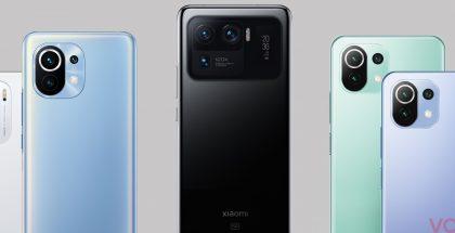 Vasemmalta oikealle: uusi Mi 11i, jo aiemmin julkistettu Mi 11, uusi Mi 11 Ultra sekä uudet Mi 11 Lite ja Mi 11 Lite 5G. Kuva: Evan Blass / Voice.