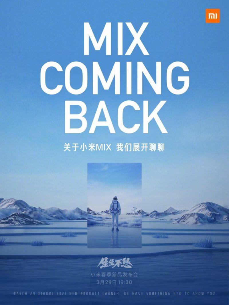 Xiaomin Mi MIX -sarja saa myös jatkoa 29. maaliskuuta.