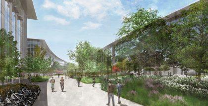 Mallinnoskuva Applen parhaillaan rakennettavasta Austinin kampuksesta. Mallinnos: Studio8 Architects ja WP Visions.