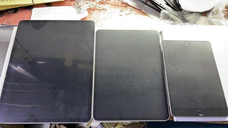 Väitetyt uusien iPad minin ja kahden eri koon iPad Pron dummy-kappaleet. Kuva: Sonny Dickson.