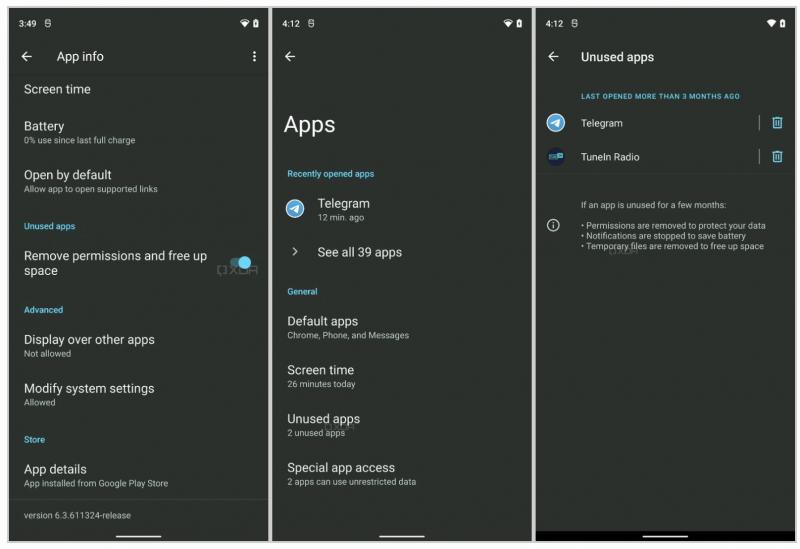 Android 12 on saamassa muutoksen käyttämättömien sovellusten asetuksiin. Kuvat: XDA Developers.