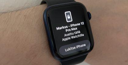 Face ID:llä varustetun iPhonen lukituksen avautumisesta Apple Watchin perusteella tulee kelloon ilmoitus värinän kera.