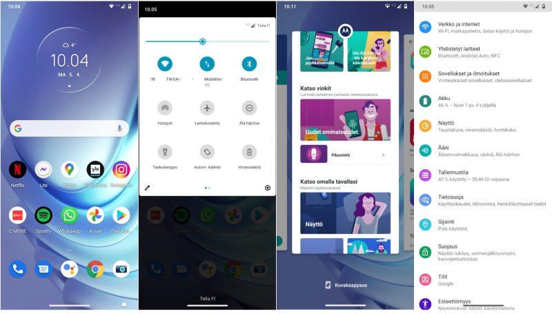 Kuvakaappauksia Moto G50:n puhtaasta Android 11 -käyttöliittymästä.
