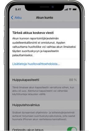 Näin iPhone kertoo, jos uudelleenkalibrointi epäonnistuu ja suosituksena on akun vaihto.