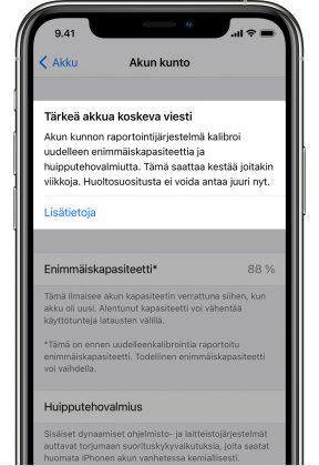 Näin iPhone kertoo, jos uudelleenkalibrointi on käynnissä ja huoltosuositusta ei voida hetkellisesti antaa.