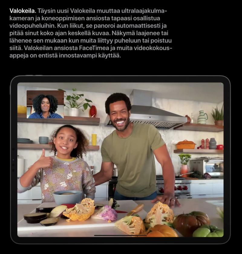 Ultralaajakulmaisen etukameran myötä iPad Prot sisältävät uuden Valokeila-ominaisuuden.