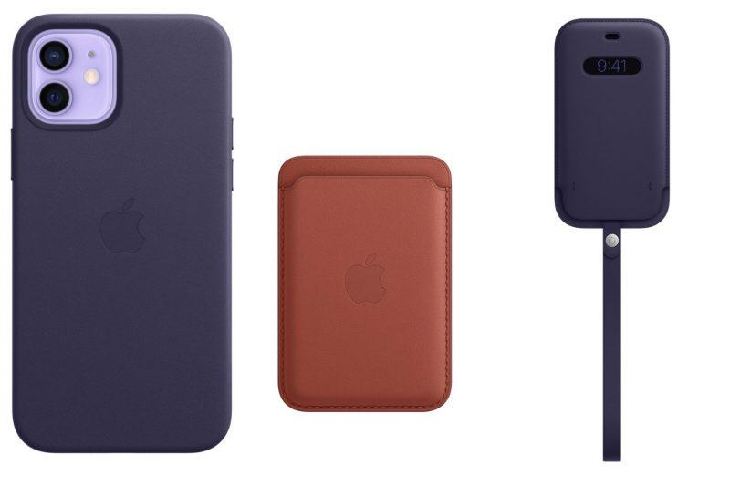 iPhone 12 -puhelinten nahkakuori MagSafella, nahkalompakko MagSafella ja nahkatasku MagSafella - kustakin yksi uusi väri.